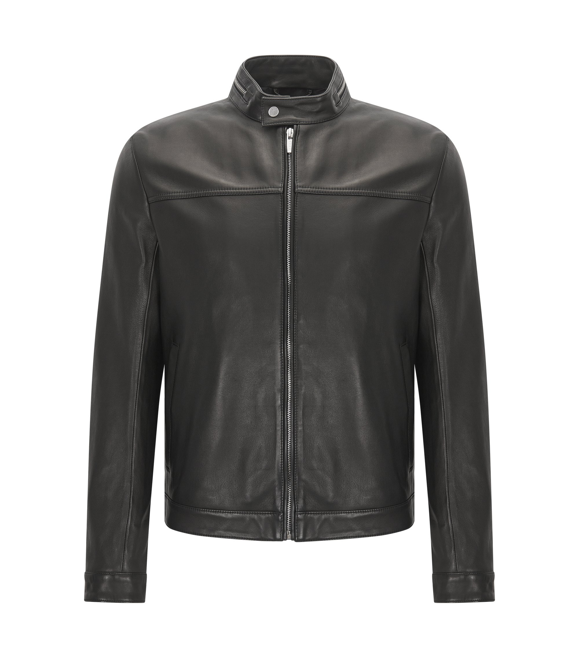 Slim-fit biker jacket in nappa leather with zip collar detail, Black