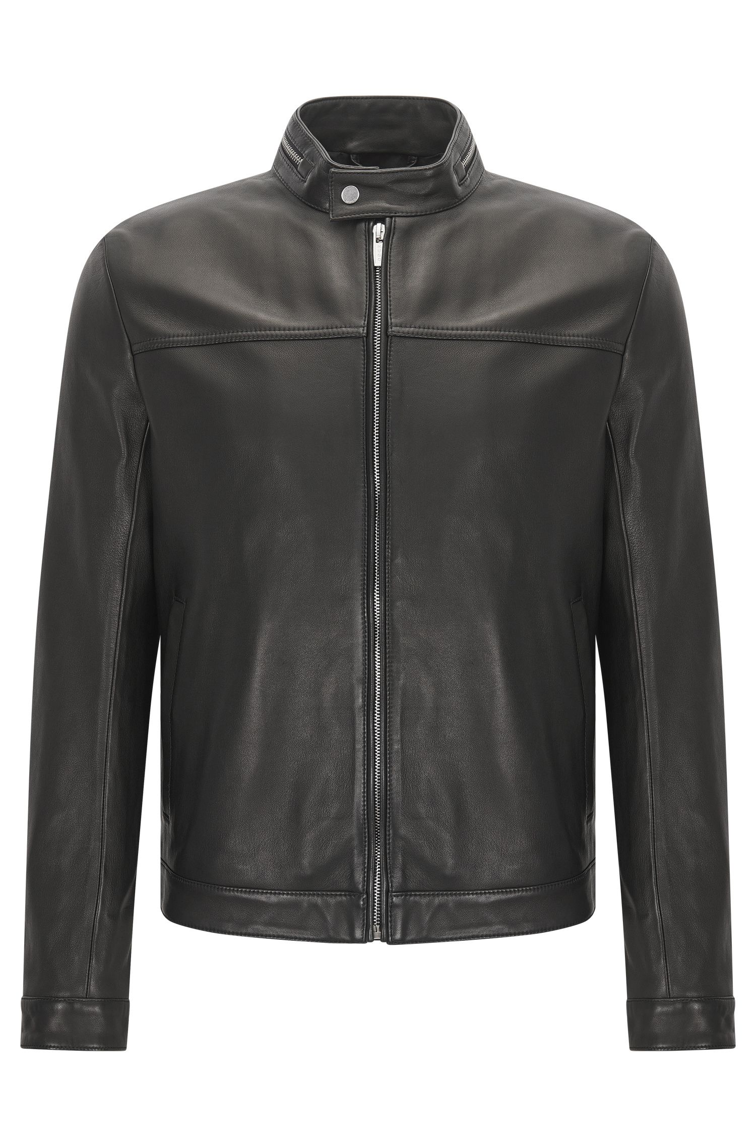 Slim-fit biker jacket in nappa leather with zip collar detail
