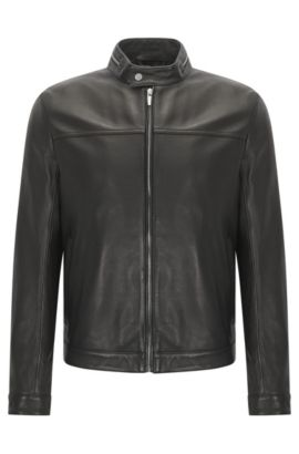 Giubbotto biker slim fit in pelle nappa con colletto con zip, Nero