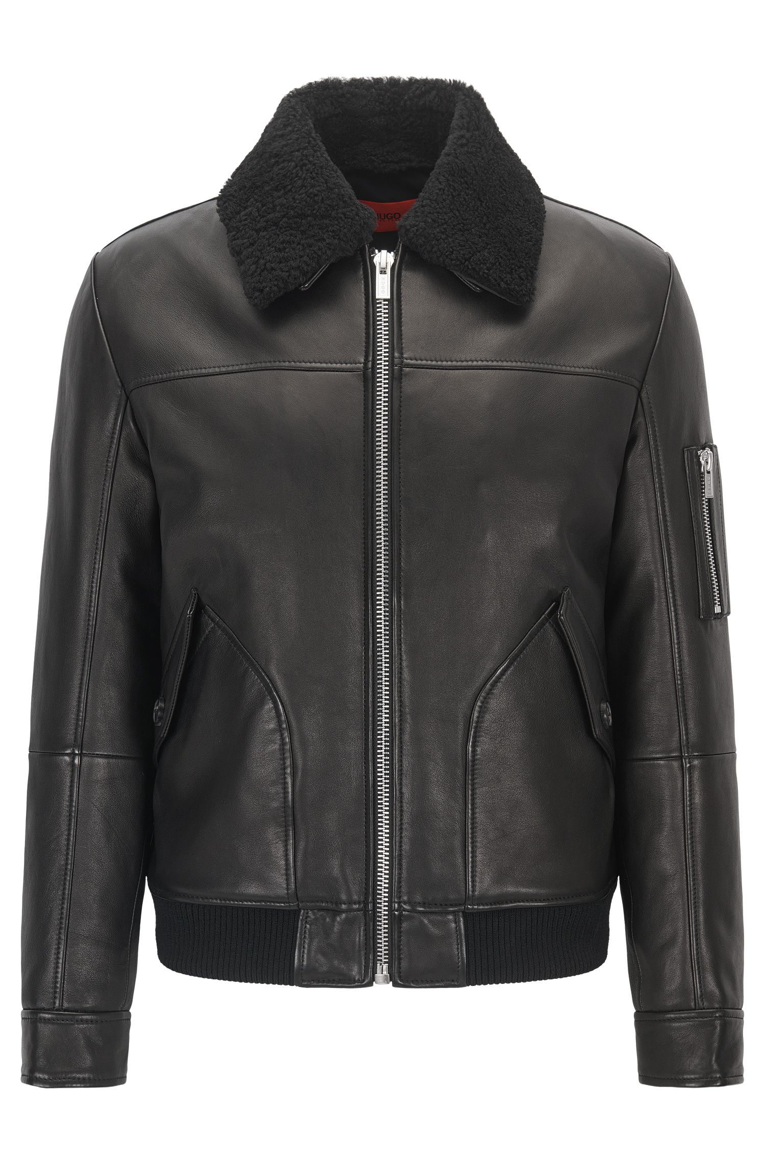 Slim-fit leather pilot jacket with detachable shearling collar