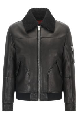 Slim-fit leather pilot jacket with detachable shearling collar, Black