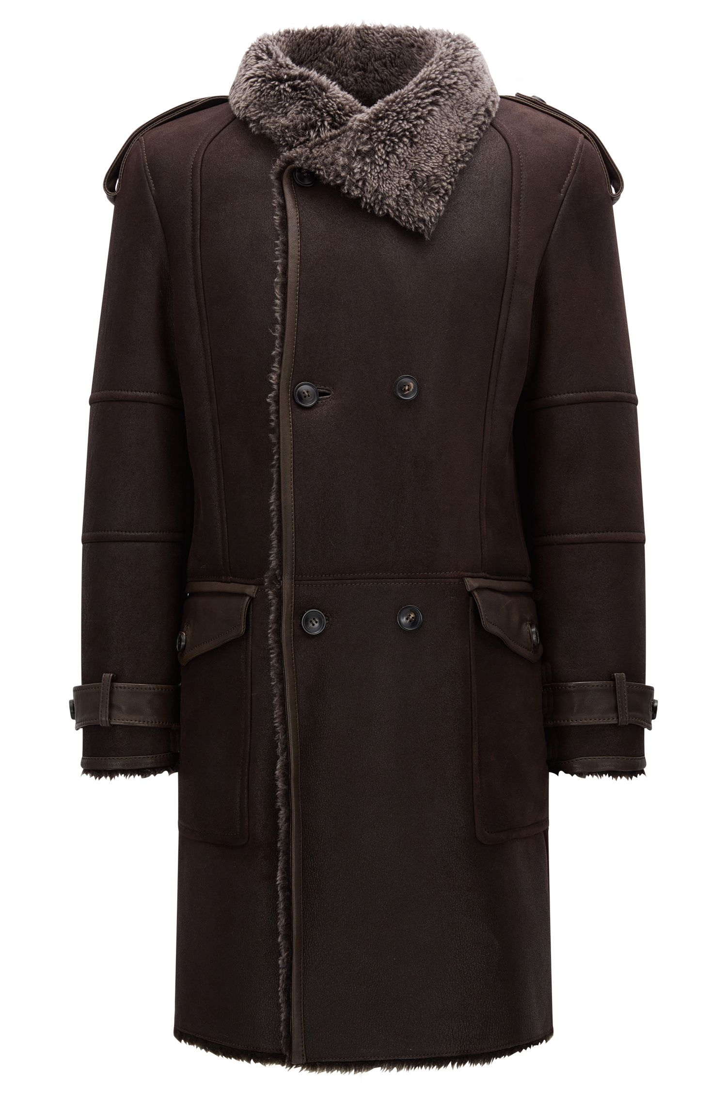 Slim-fit double-breasted shearling coat