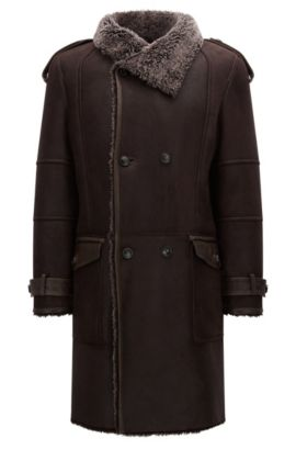 Slim-fit double-breasted shearling coat, Dark Brown