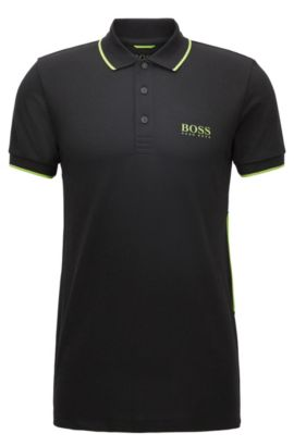 Slim-fit polo met actieve stretch en logoprint, Zwart