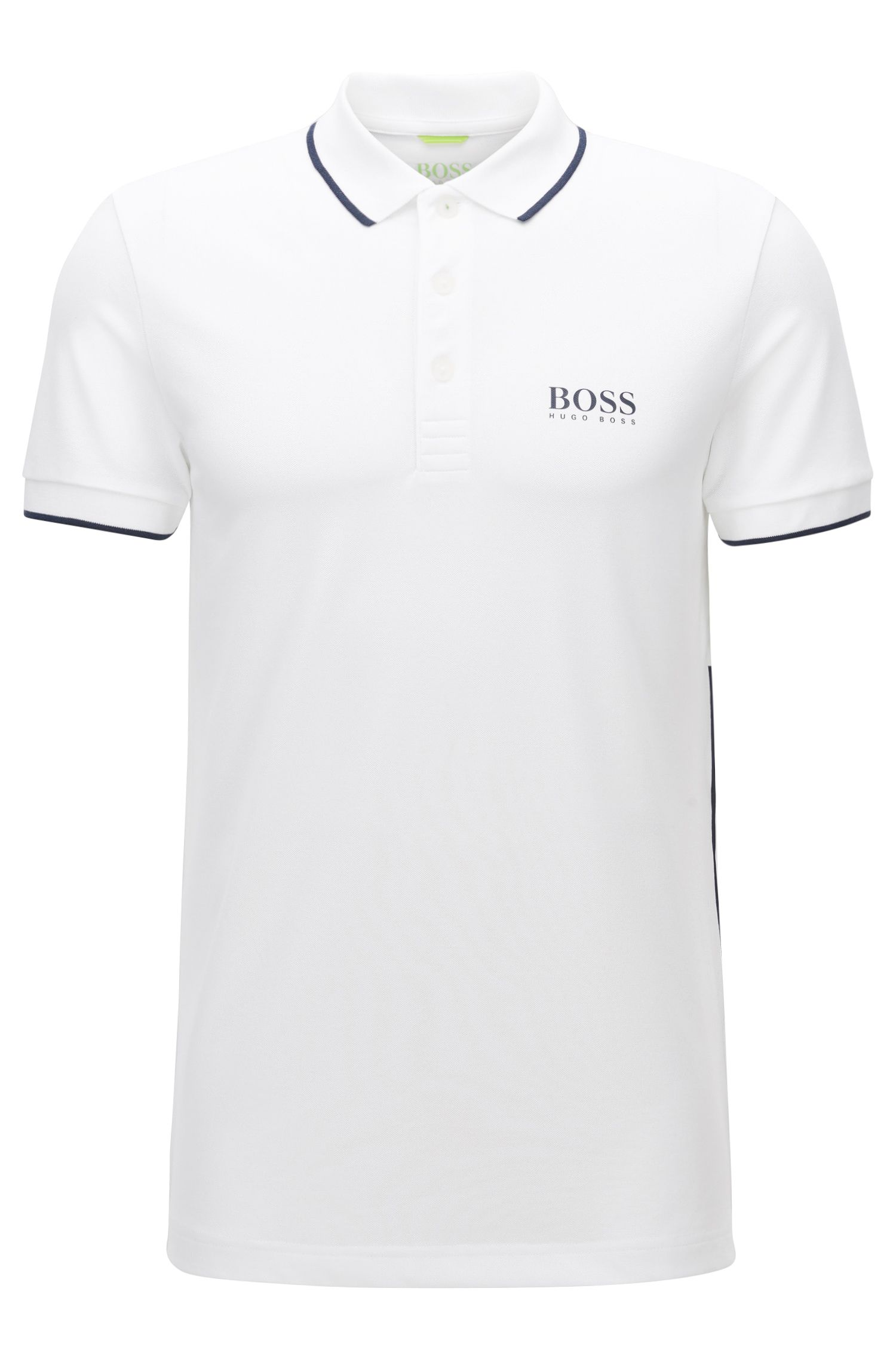 Slim-fit active-stretch polo shirt with logo print