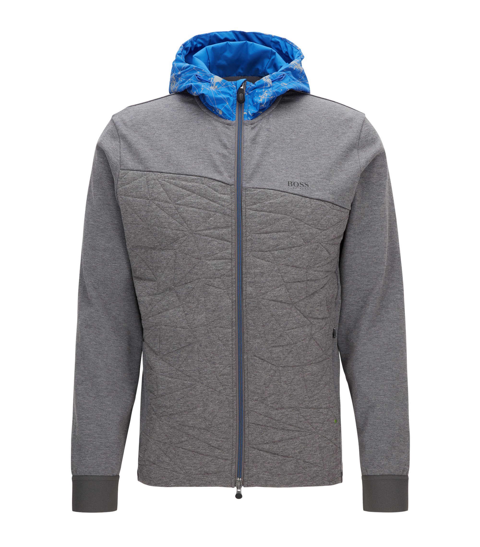 Cotton-mix hooded sweater with reflective print, Grey