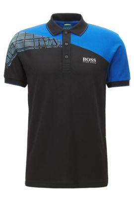Regular-Fit Poloshirt aus elastischem Baumwoll-Mix im Colour Block Design, Schwarz