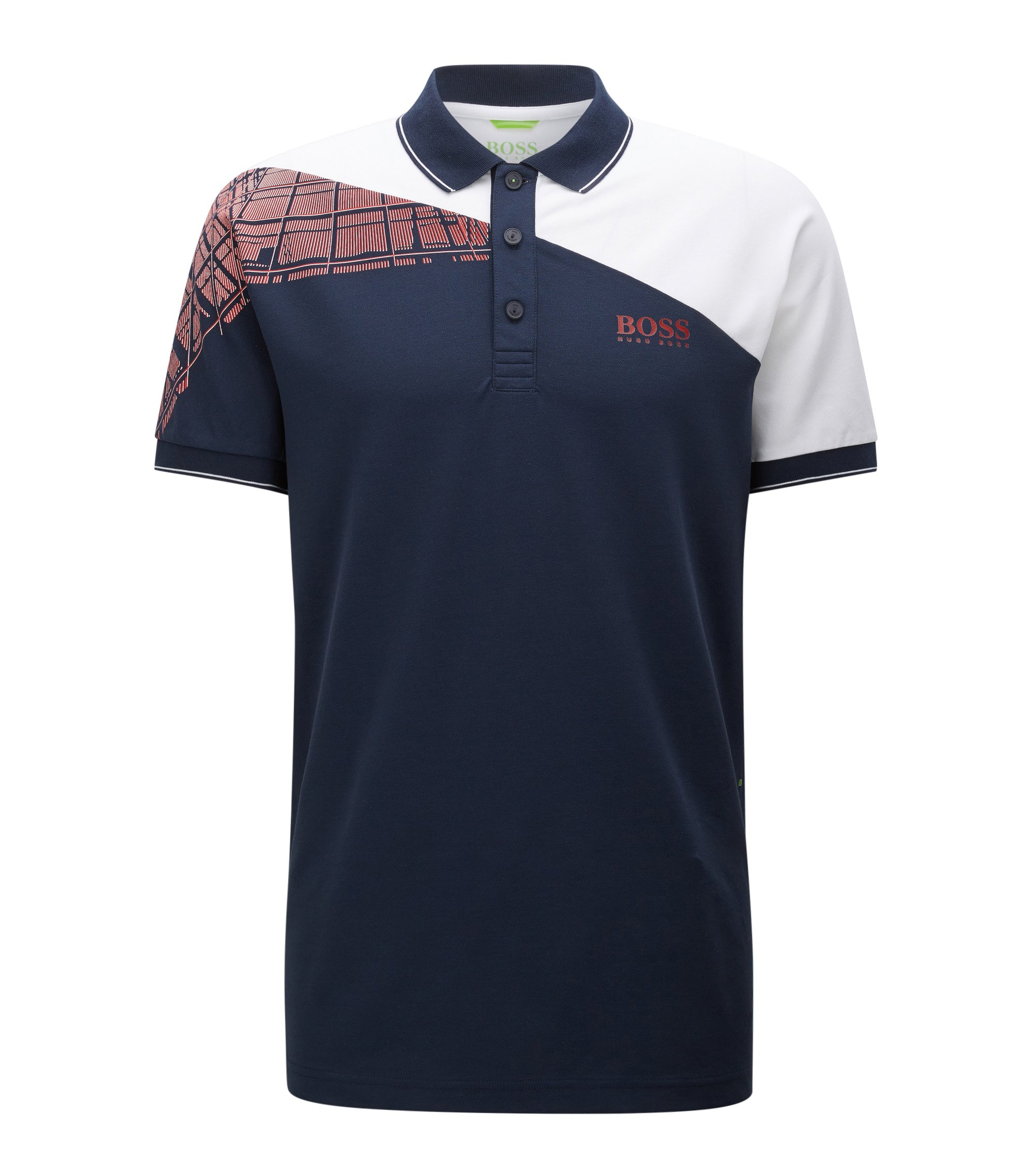 Regular-fit polo met blokkleuren, S.Café® en stretch, Donkerblauw