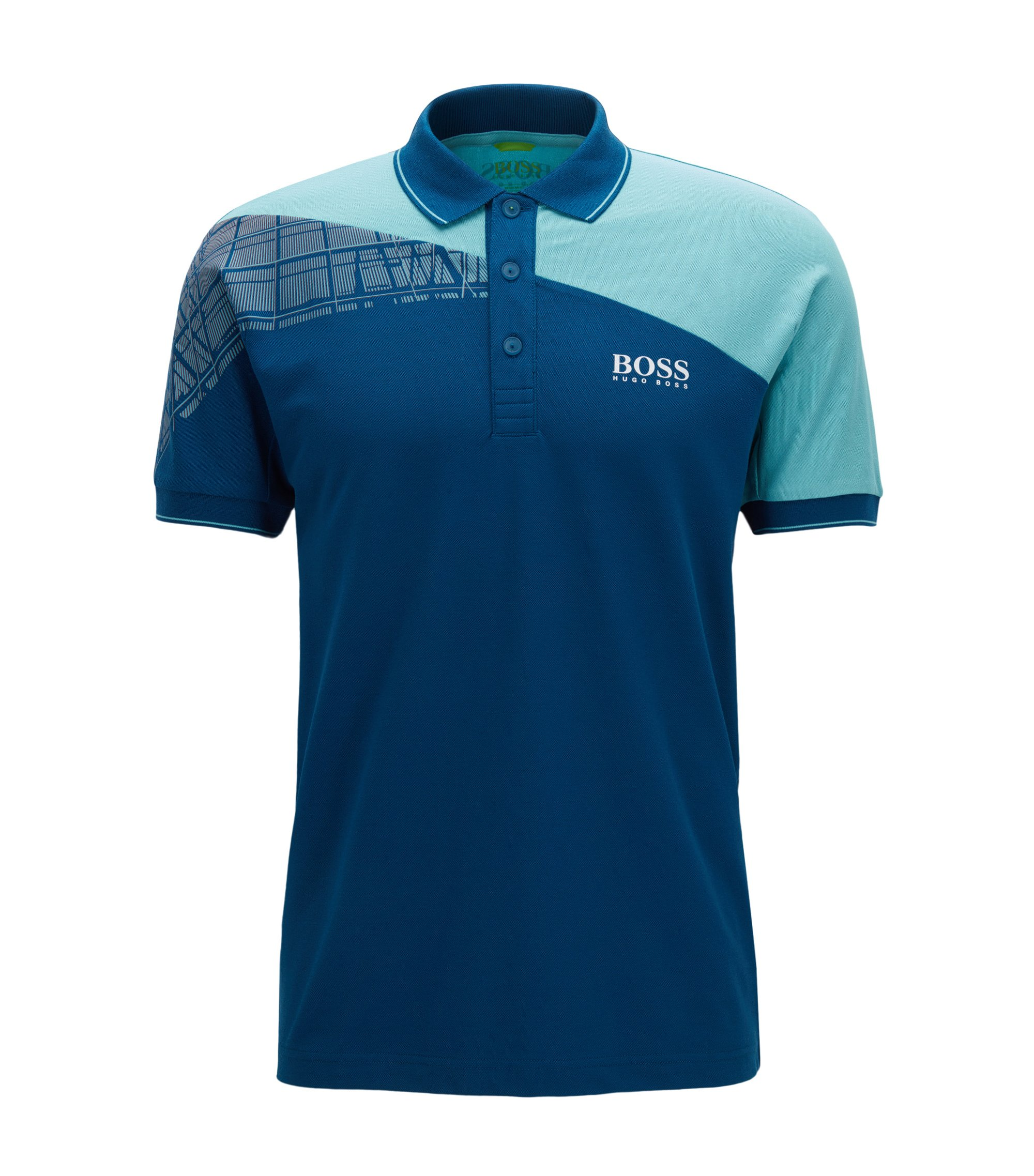 Polo Regular Fit color block en matière S.Café® à teneur en stretch, Bleu