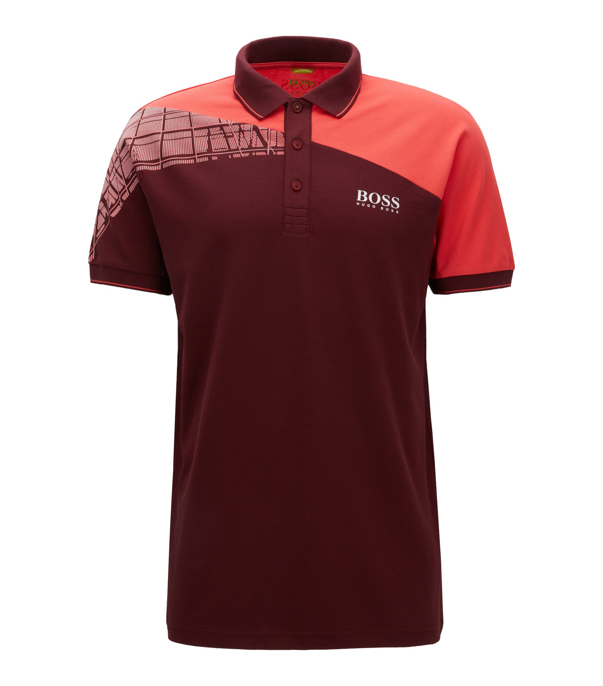 Polo Regular Fit color block en matière S.Café® à teneur en stretch, Rouge