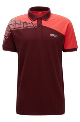 Regular-Fit Poloshirt aus elastischem Baumwoll-Mix im Colour Block Design, Rot