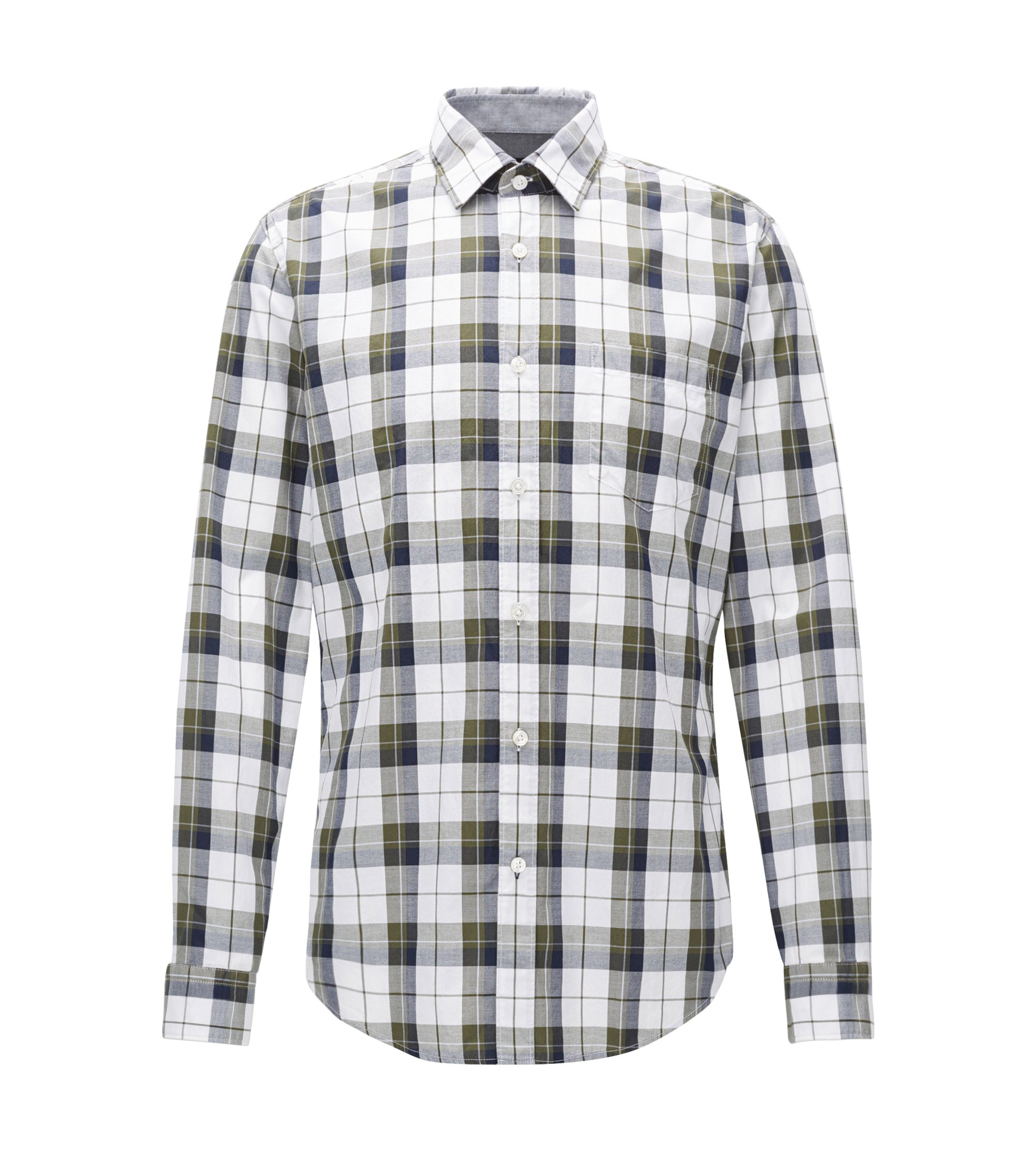 Regular-fit checked shirt in Oxford cotton , Patterned
