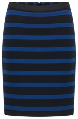 Slim-fit skirt in stripe stretch fabric, Bedrukt