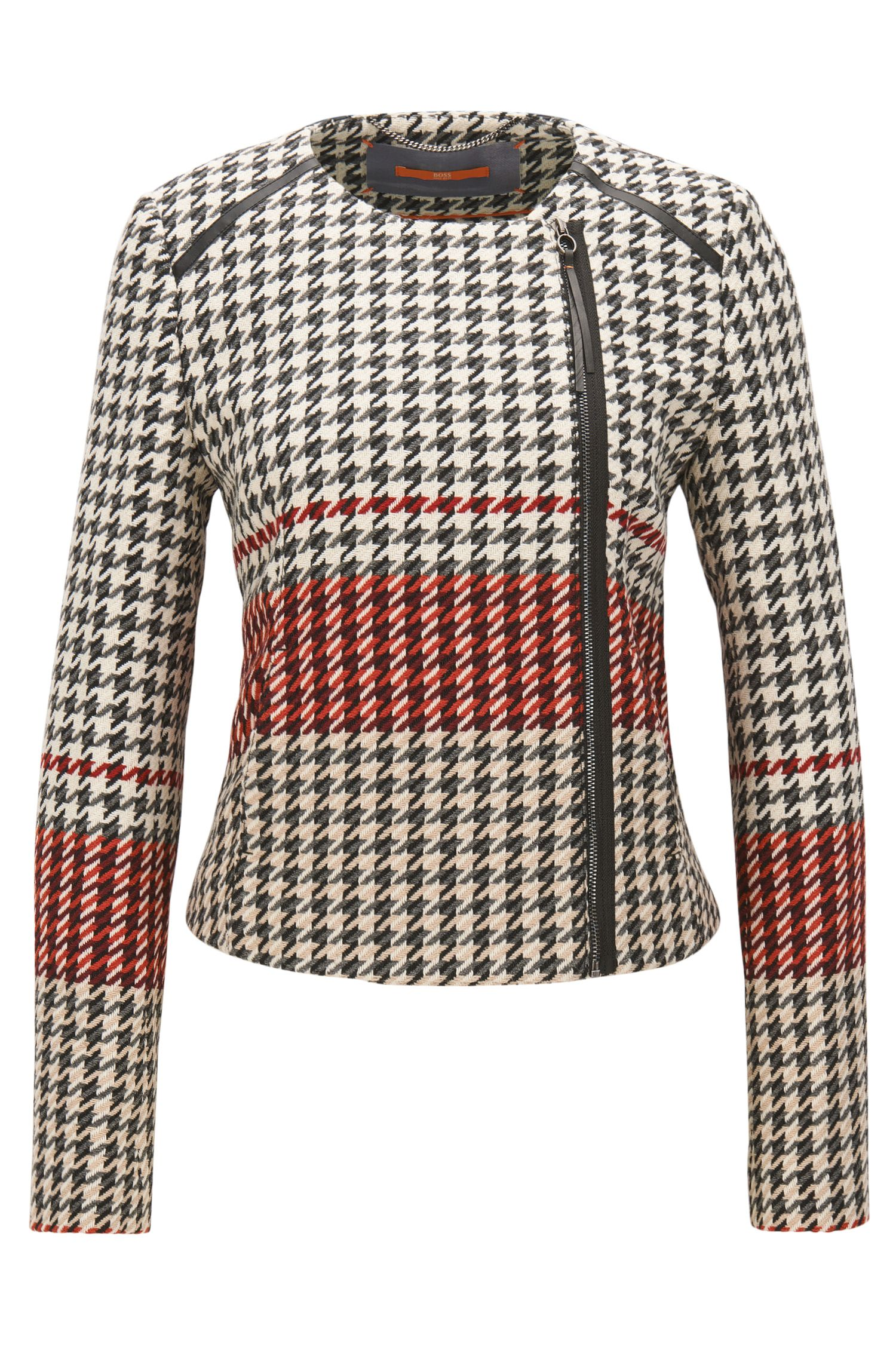 Houndstooth biker-style tailored jacket in a regular fit