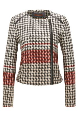Houndstooth biker-style tailored jacket in a regular fit, Patterned