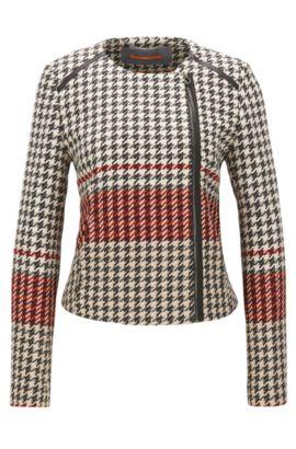 Gemusterter Regular-Fit Blazer im Biker-Stil aus Material-Mix mit Wolle und Baumwolle, Gemustert