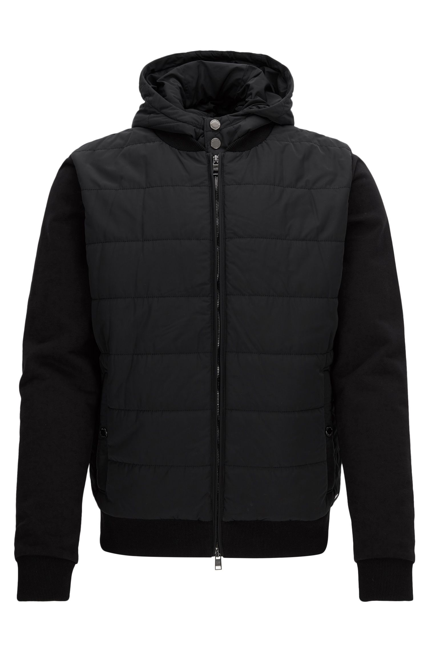 Regular-fit hooded jacket in technical fabric and French terry