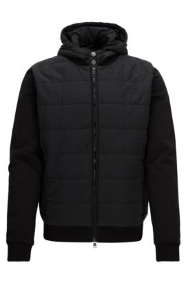 Regular-fit hooded jacket in technical fabric and French terry, Black