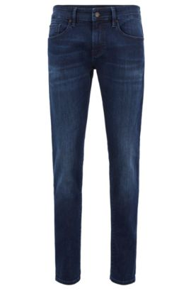 Skinny-fit washed stretch jeans, Dark Blue