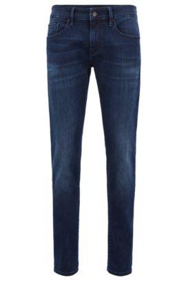 Jeans Skinny Fit délavé en stretch, Bleu foncé