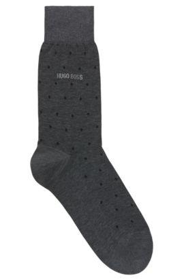 Regular-length patterned socks in mercerised cotton, Black