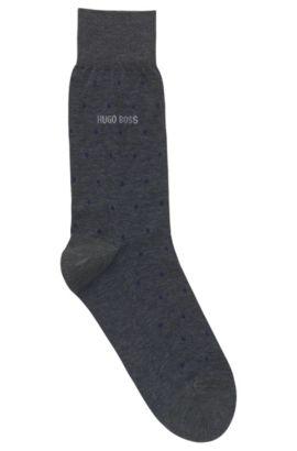 Chaussettes mi-mollet en coton mercerisé à motif, Bleu foncé