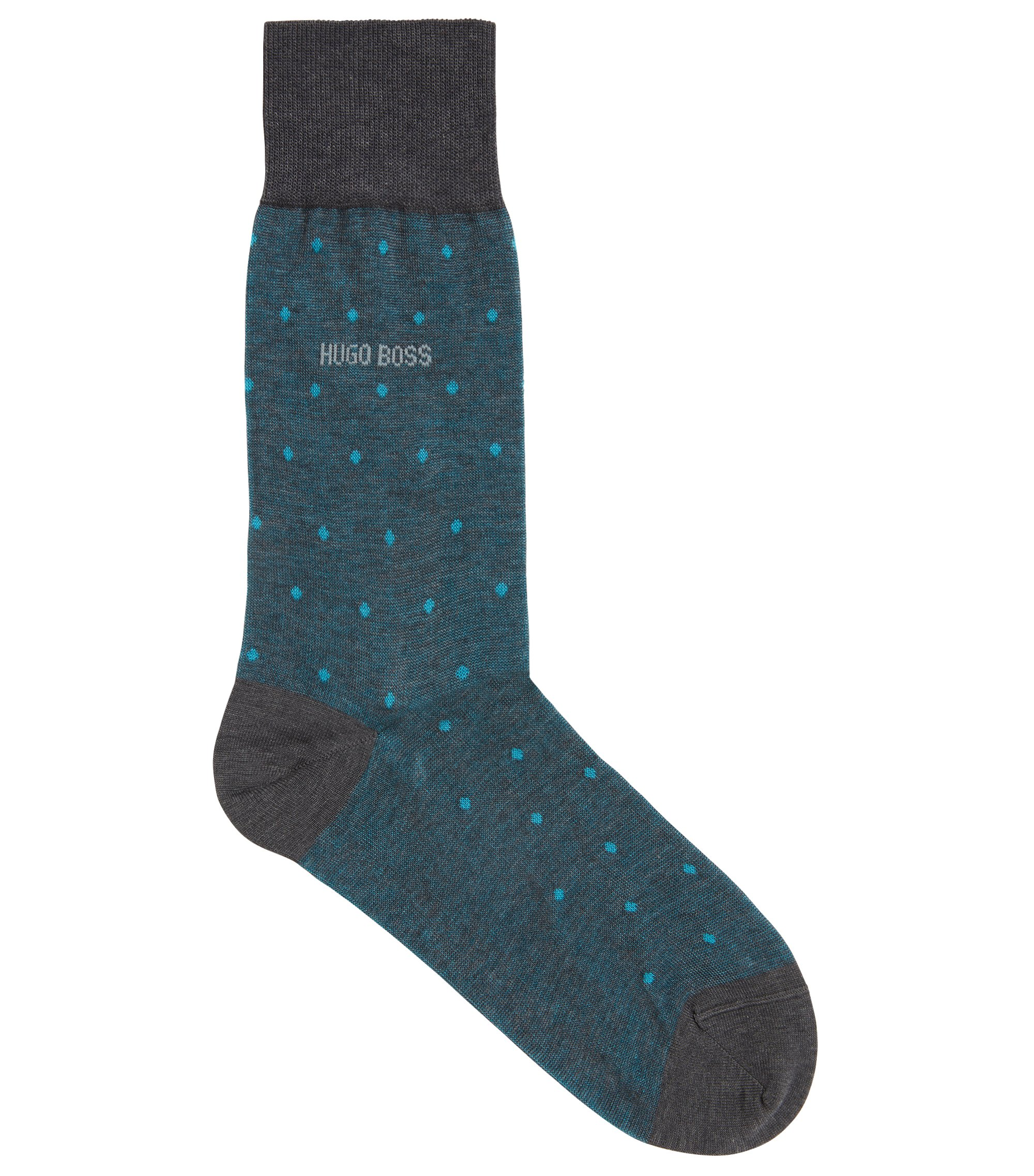 Regular-length patterned socks in mercerised cotton, Turquoise