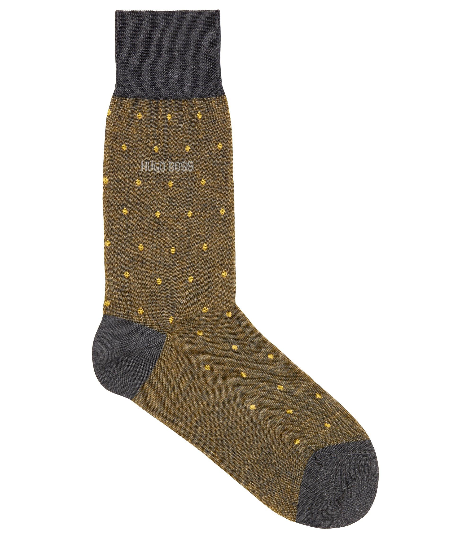 Regular-length patterned socks in mercerised cotton, Yellow
