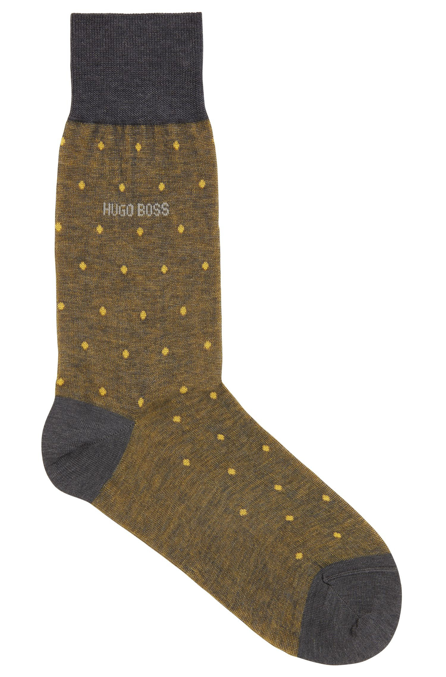 Regular-length patterned socks in mercerised cotton