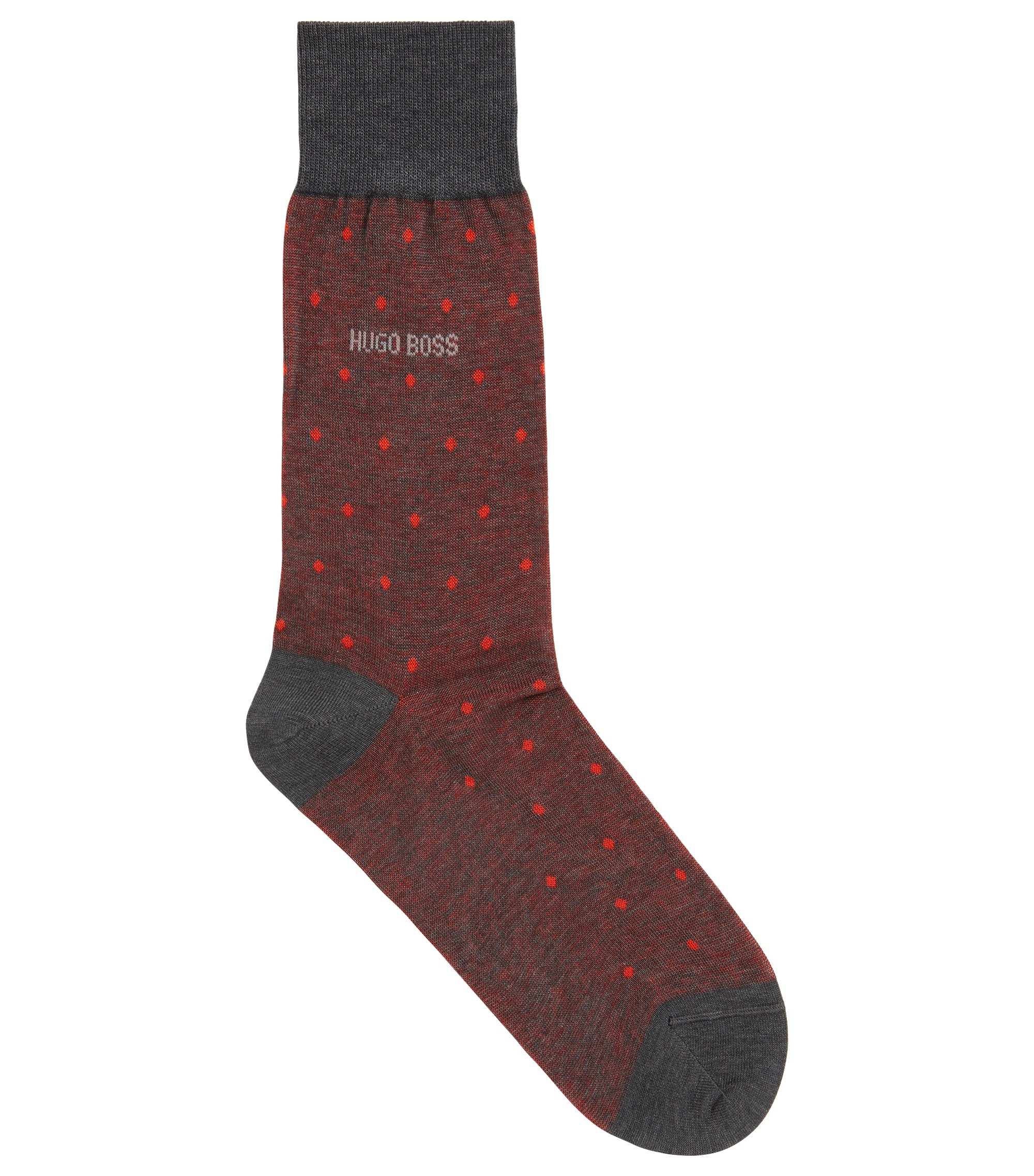 Regular-length patterned socks in mercerised cotton, Orange
