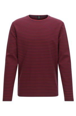 Regular-fit striped cotton jersey T-shirt , Red