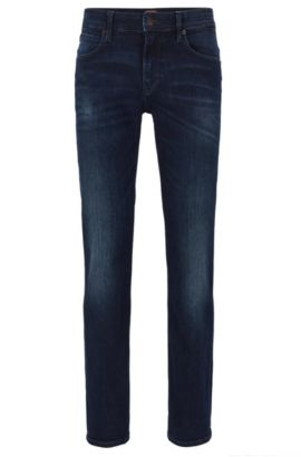 Jeans Slim Fit en denim super stretch, Bleu foncé