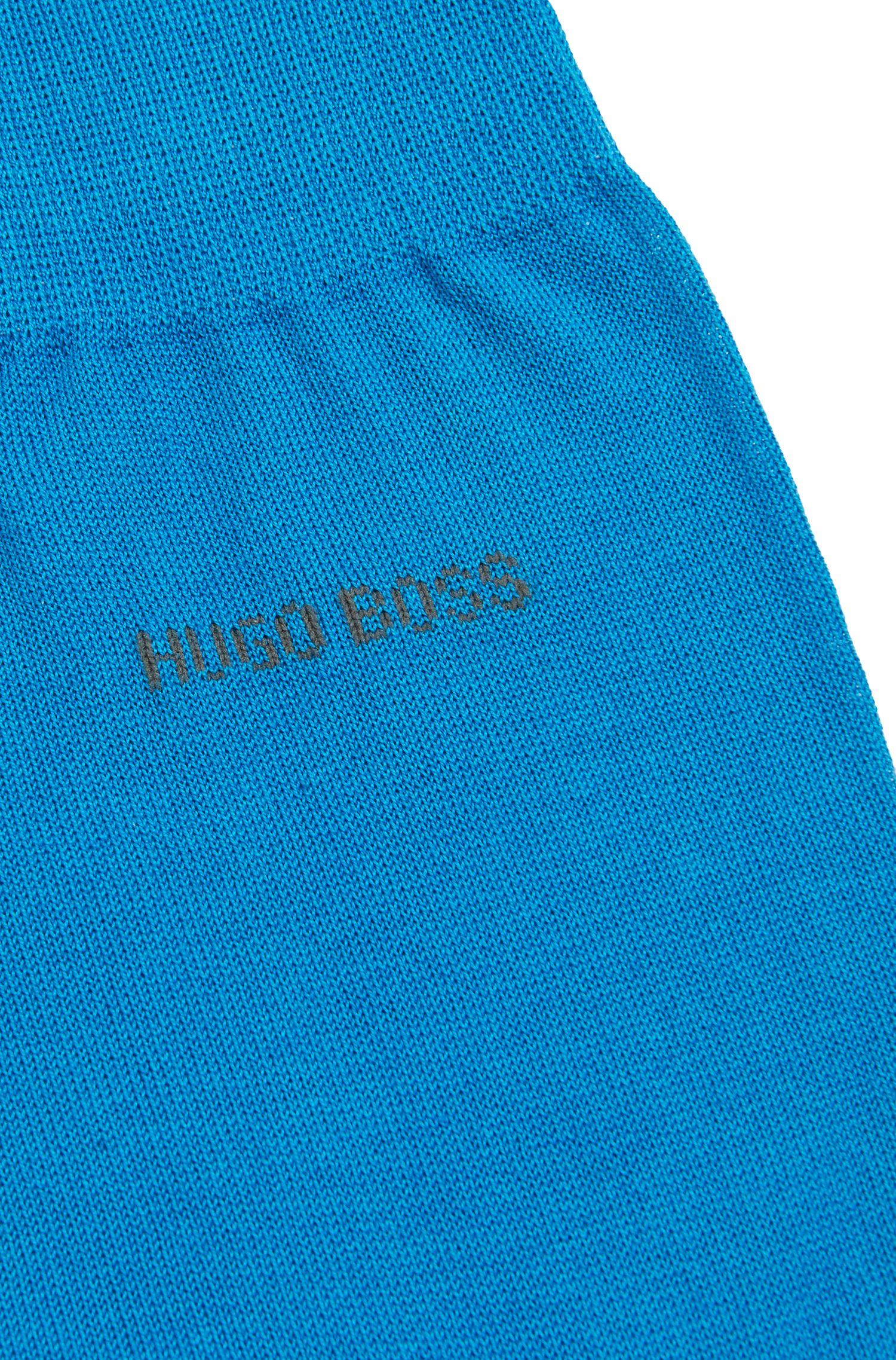 Chaussettes mi-hautes en coton mercerisé, Bleu