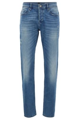 Tapered-Fit Jeans aus Stretch-Denim, Blau