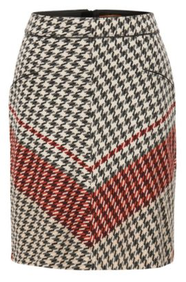 A-line skirt in houndstooth fabric, Patterned