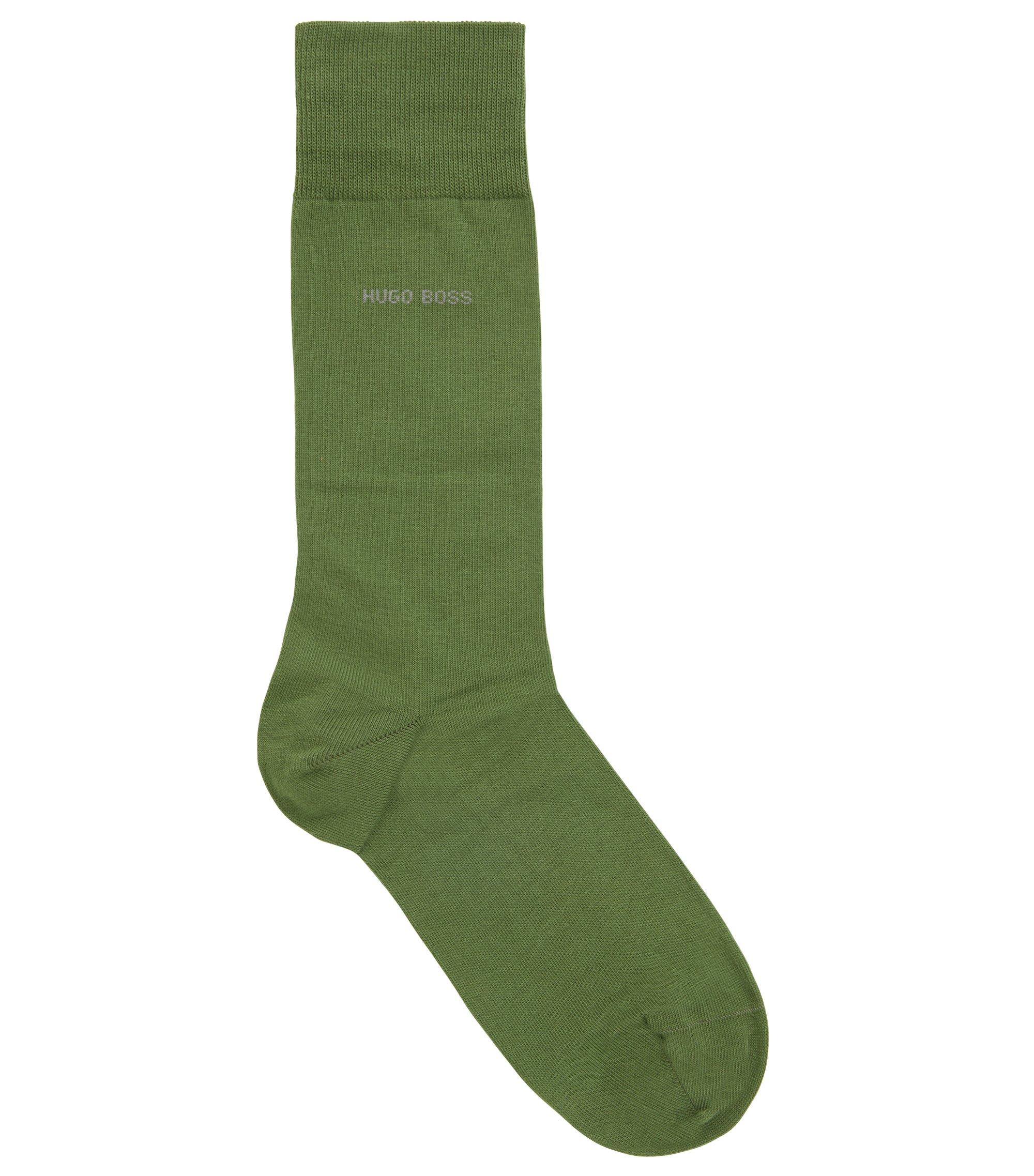 Chaussettes mi-mollet en coton peigné stretch, Vert