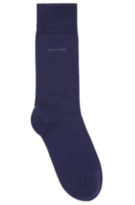 Regular-length socks in combed stretch cotton, Dark Blue