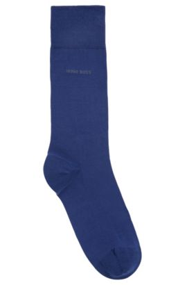 Mittelhohe Socken aus gekämmter Stretch-Baumwolle, Blau