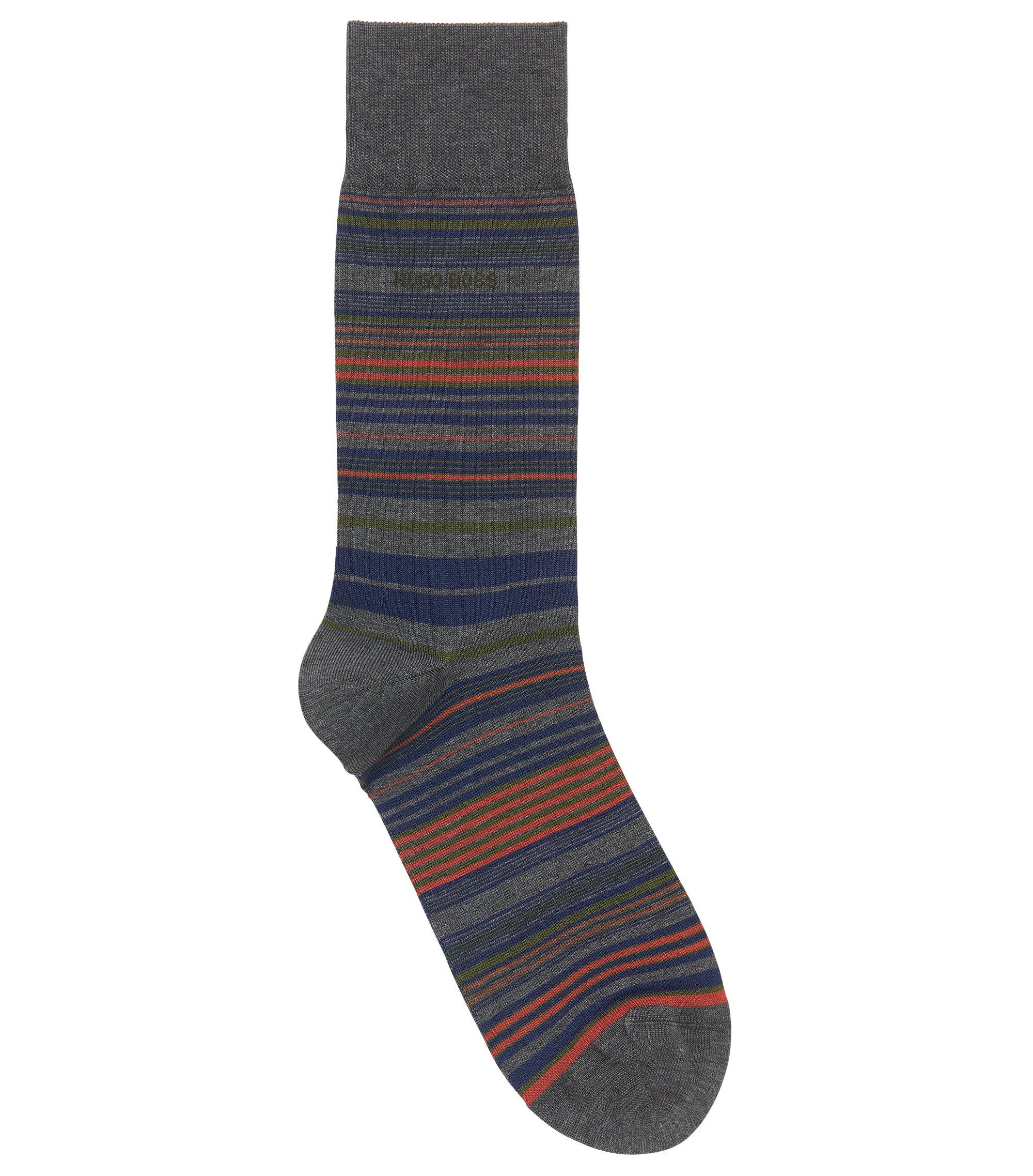 Horizontaal gestreepte sokken van een gemerceriseerde katoenmix, Grijs