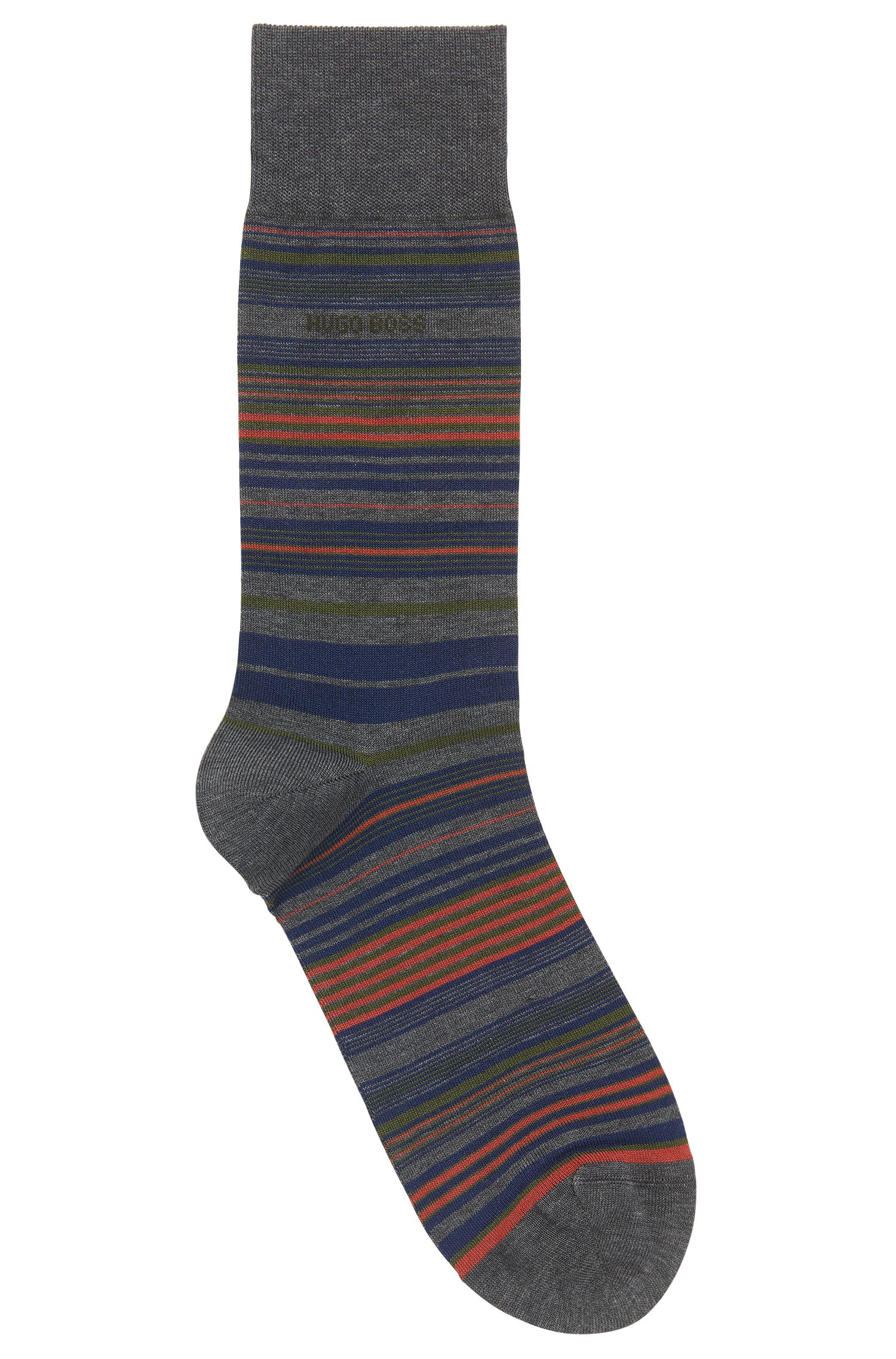 Horizontal-striped socks in a mercerised cotton blend