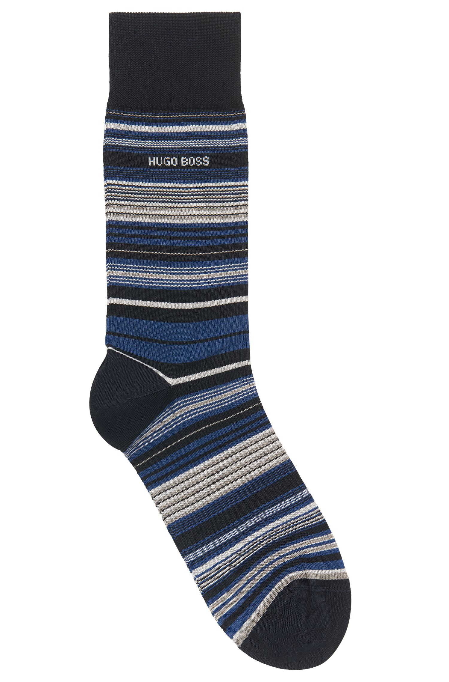 Chaussettes à rayures horizontales en coton mélangé mercerisé