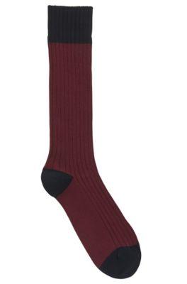 Calcetines ligeros para botas en mezcla de algodón peinado, Rojo oscuro
