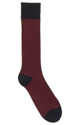 Lightweight boot socks in a combed-cotton blend, Dark Red