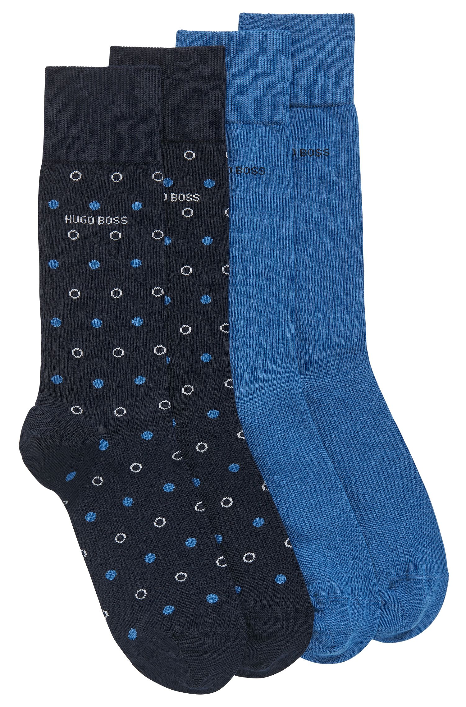 Two-pack of regular-length socks in a combed-cotton blend