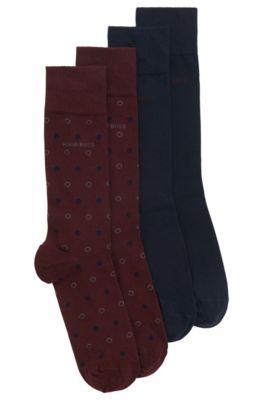 Set van twee paar sokken van een gekamde katoenmix met een normale lengte, Donkerrood