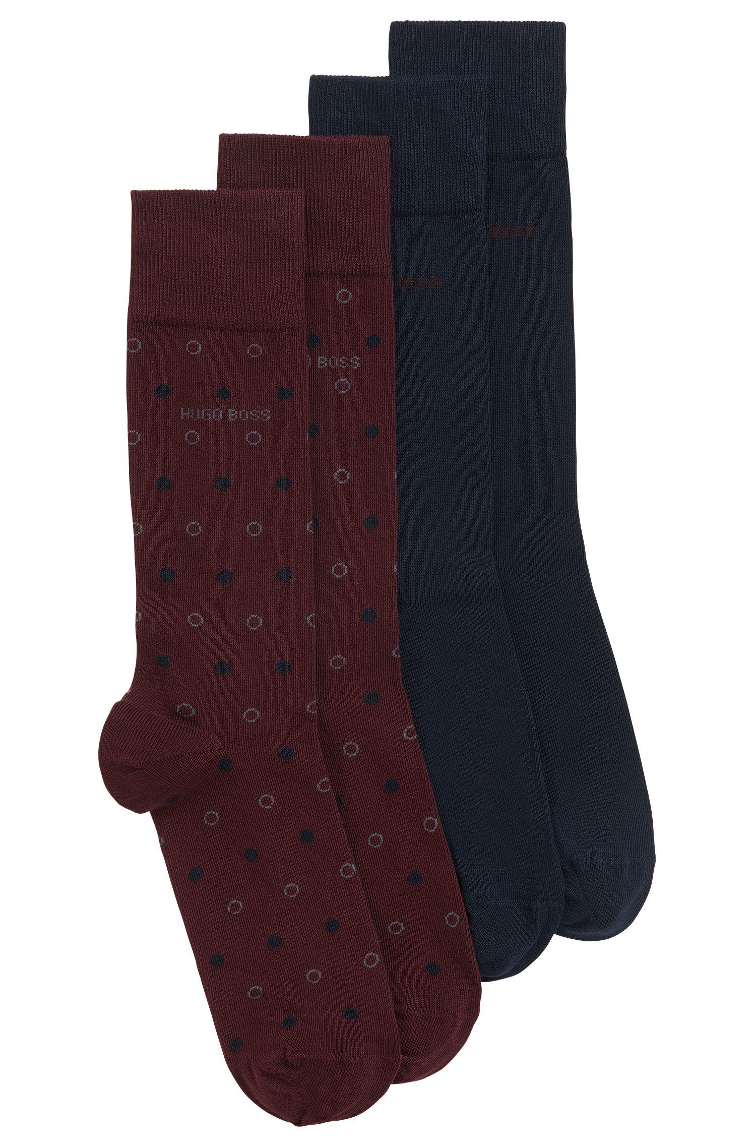 Chaussettes mi-mollet en coton mélangé peigné, en lot de deux