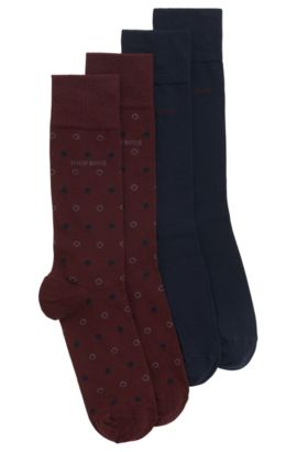 Two-pack of regular-length socks in a combed-cotton blend, Dark Red
