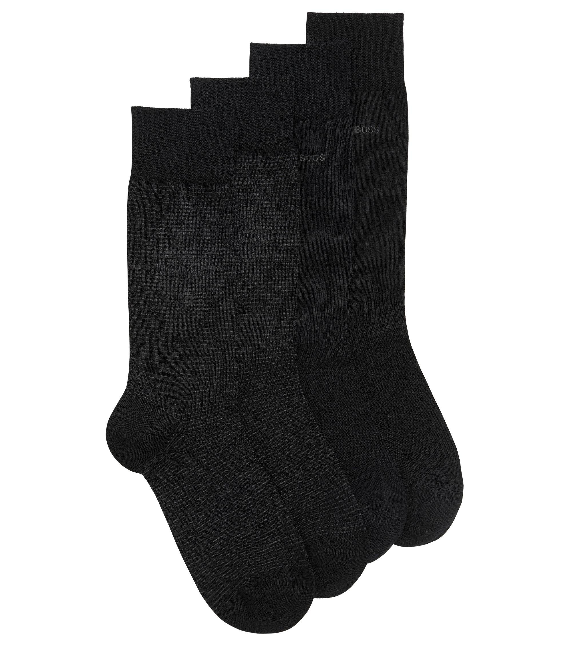 Lot de deux paires de chaussettes mi-hautes en tissu peigné, Noir