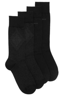 Set van twee paar sokken met normale lengte van een gekamde materiaalmix, Zwart
