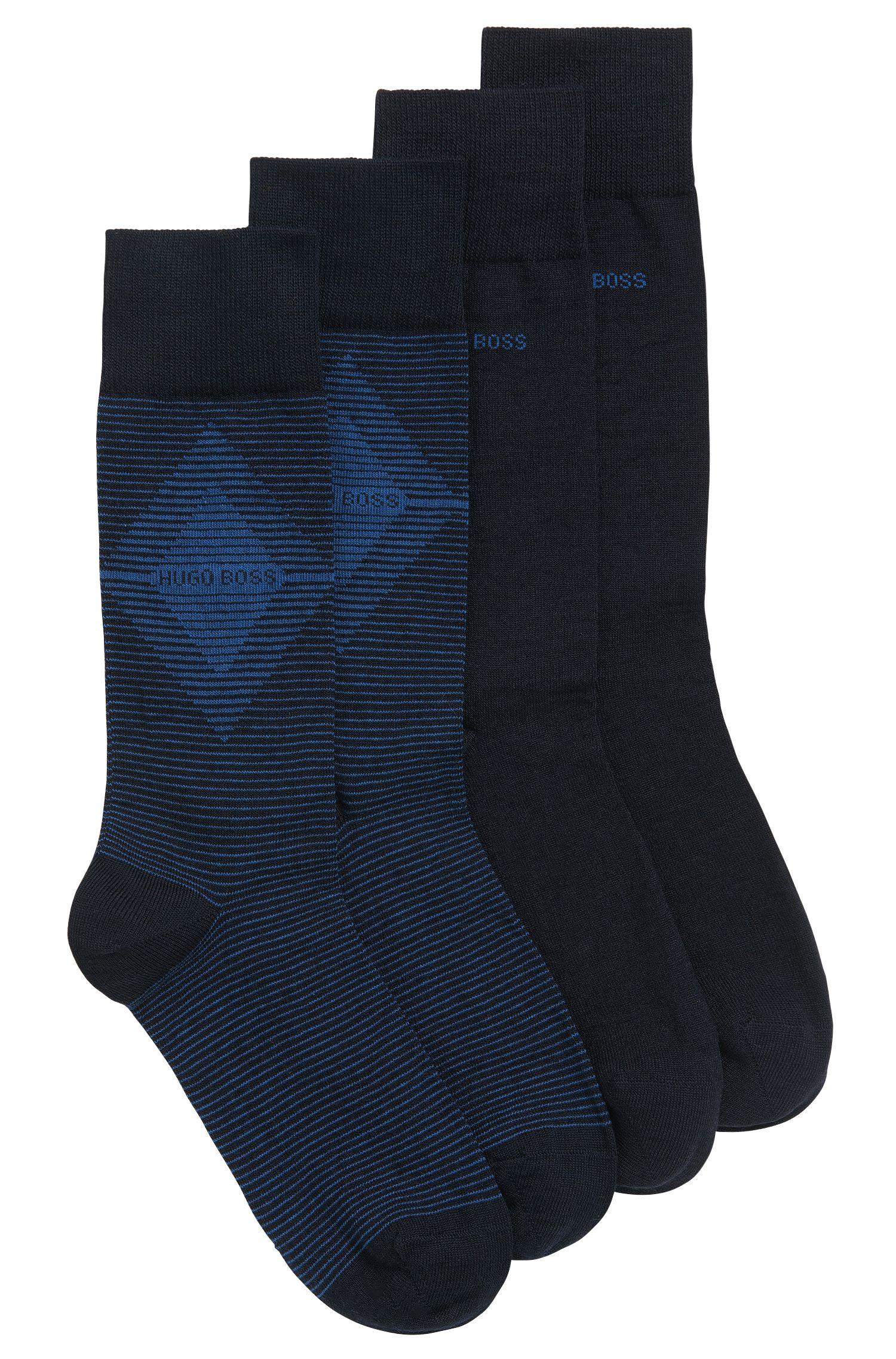 Paquete de dos pares de calcetines de largo normal en tejido peinado